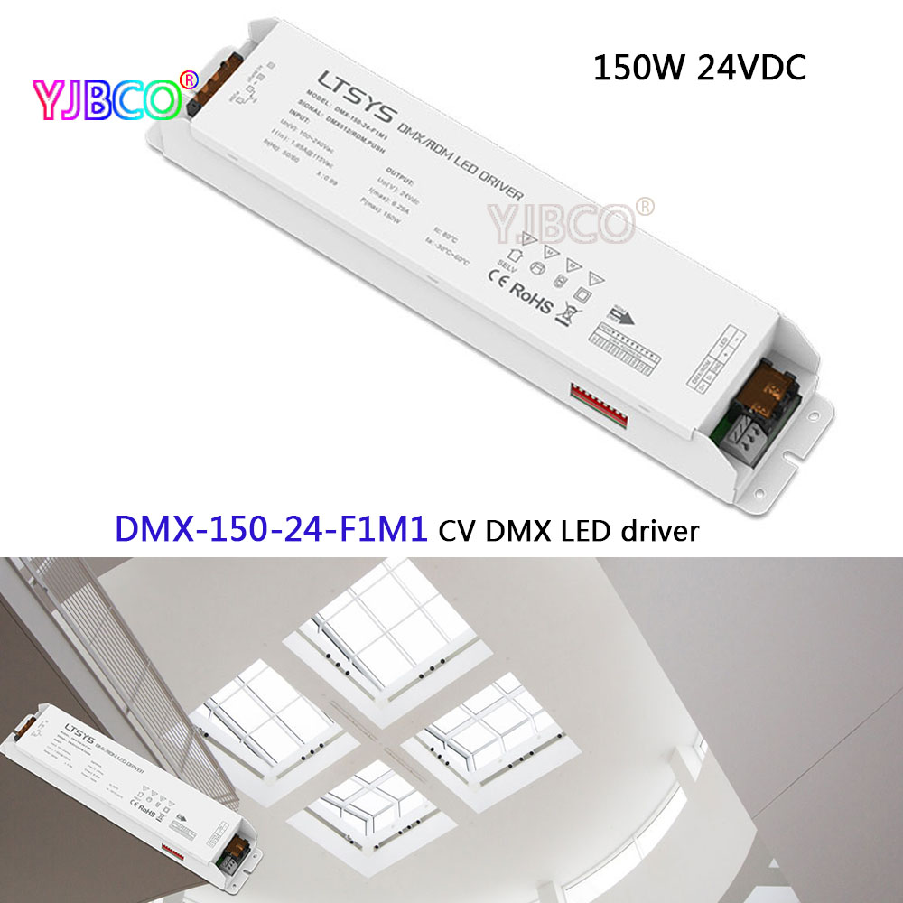 led dimming intelligent driver;DMX-150-24-F1M1;AC100-240V input 24V/6.25A/150W output DMX512/RDM CV LED driver ltech led dimming intelligent driver dmx 75 12 f1m1 ac100 240v input 12v 6 25a 75w dmx512 rdm output cv dmx led driver