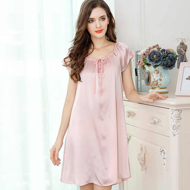 933d489e4a ... Summer 100% genuine silk sexy nightgown short sleeves nighty dress  women satin pure silk nightgowns ...