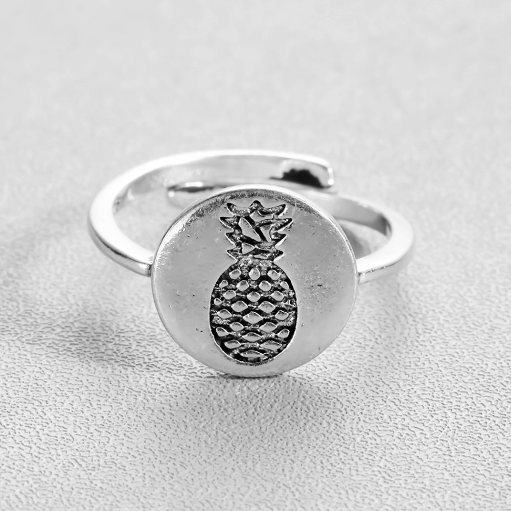 QIAMNI Funny Silver Round Fruit Pineapple Promise Open Finger Adjustable Ring for Women Men Wedding Couple Christmas Gift Bague
