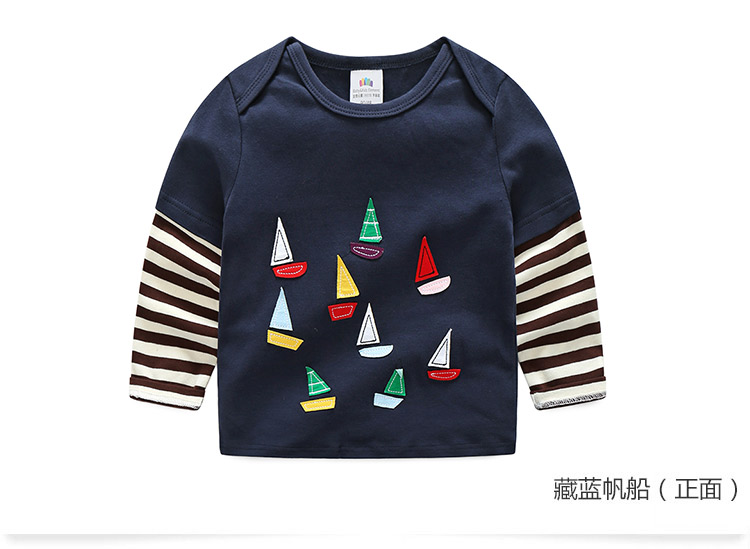 2018 Spring Autumn For 2-9 10 Years Children Cotton Striped Patchwork Cartoon Car Bus Truck Baby Kids Boys Long Sleeve T Shirts (40)