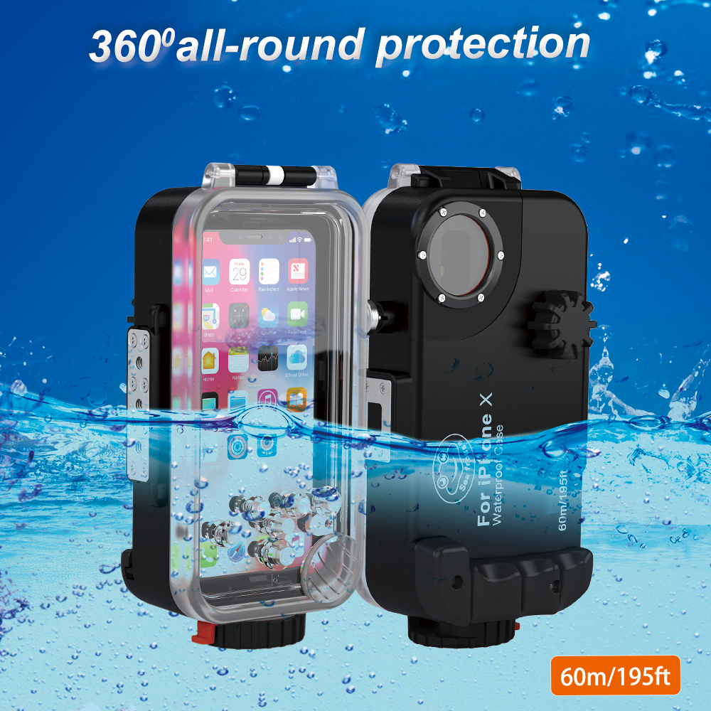 Diving Phone Housing case For iPhone X 60m Professional Waterproof Protective Cover Color Filter Shoot bright Photo Necessary (7)