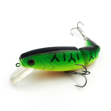 Swimbait Jointed Top Water Minnow Fishing Lures Hook Crankbait Bait Bass 3 Sections 11cm High quality 039