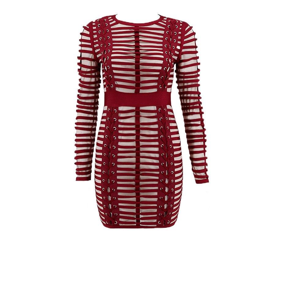 Hoge Kwaliteit Lace Up Bourgondië Lange Mouwen Skinny Elegante Partij Jurk voor Vrouwen Ronde Hals Mesh Gewaad Femme Vestidos - 2