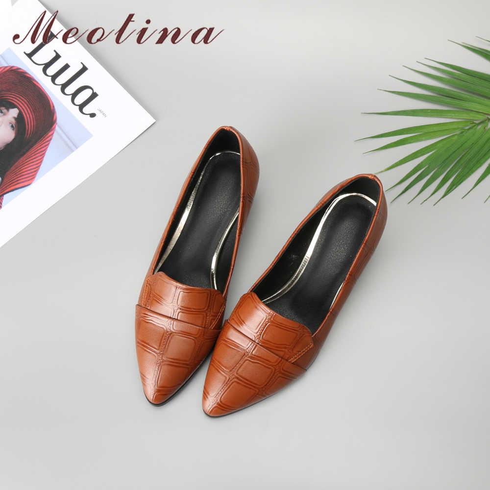Buty damskie Meotina Med wysokie obcasy damskie czółenka Pointed Toe Block Heel buty damskie Casual Big Size 33-43 2018 nowe buty czarne