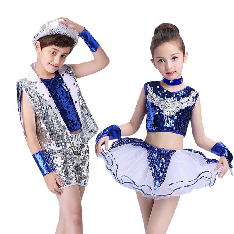 73591cff1596 Children Jazz Dance Costume School Stage Perfromance Hip Hop Dance ...