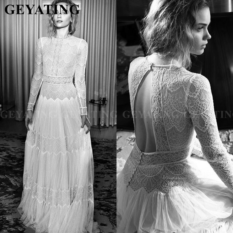 Rustic Sheer Lace Boho Wedding Dress 2019 Vintage Long Sleeves Open Back Beach Wedding Gowns Country Style Hippie Bride Dresses