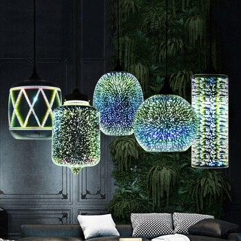 Moderne Led Coloré Plaqué 3D Verre Pendentif Lumière Miroir Verre Boule Abat-jour Pour Restaurant Café Bar Salle à Manger Salon Lampe