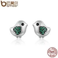 BAMOER 100 925 Sterling Silver Lovely Little Bird Clear CZ Green Heart Stud Earrings For Women