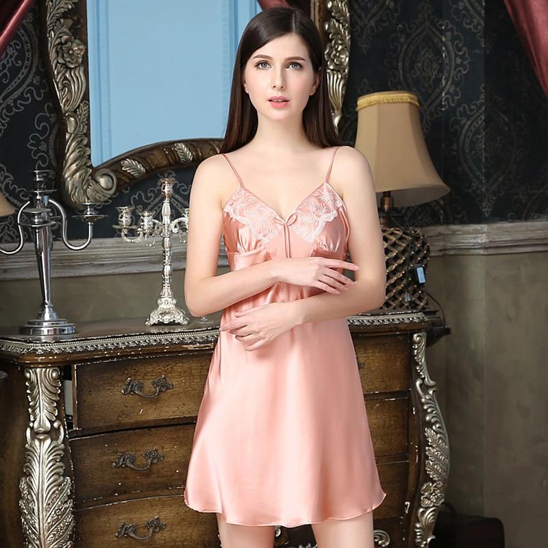 NEW 100% silk nightgowns women Sexy sleepwear Home dresses SILK nightdress SATIN nightie Summer style Silk dress Free Shipping silk