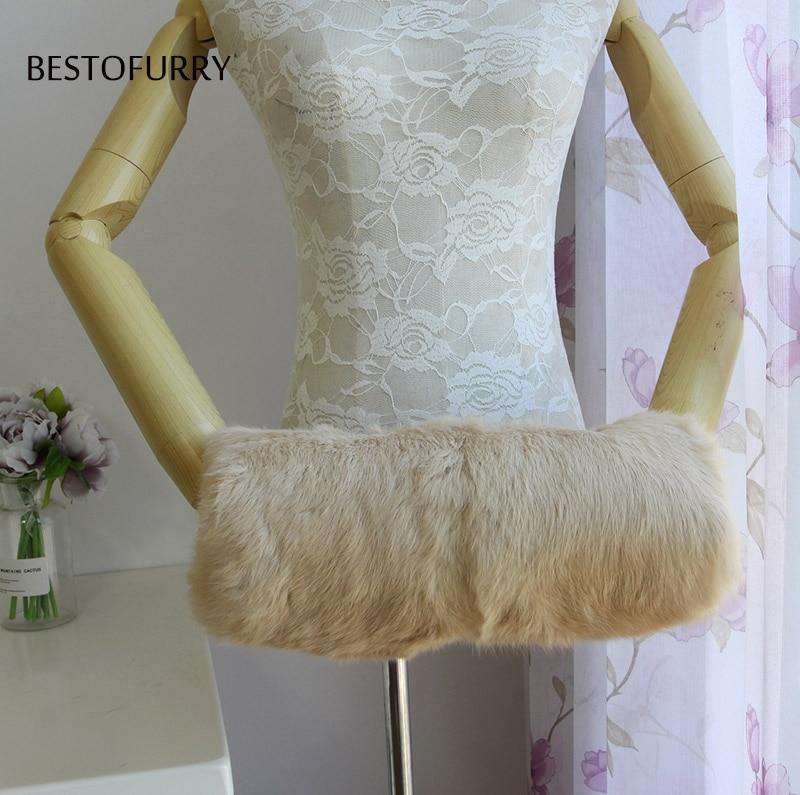 Mujeres Unisex de los hombres de moda de invierno de piel de conejo Real mano manguito calientamanos FO0004