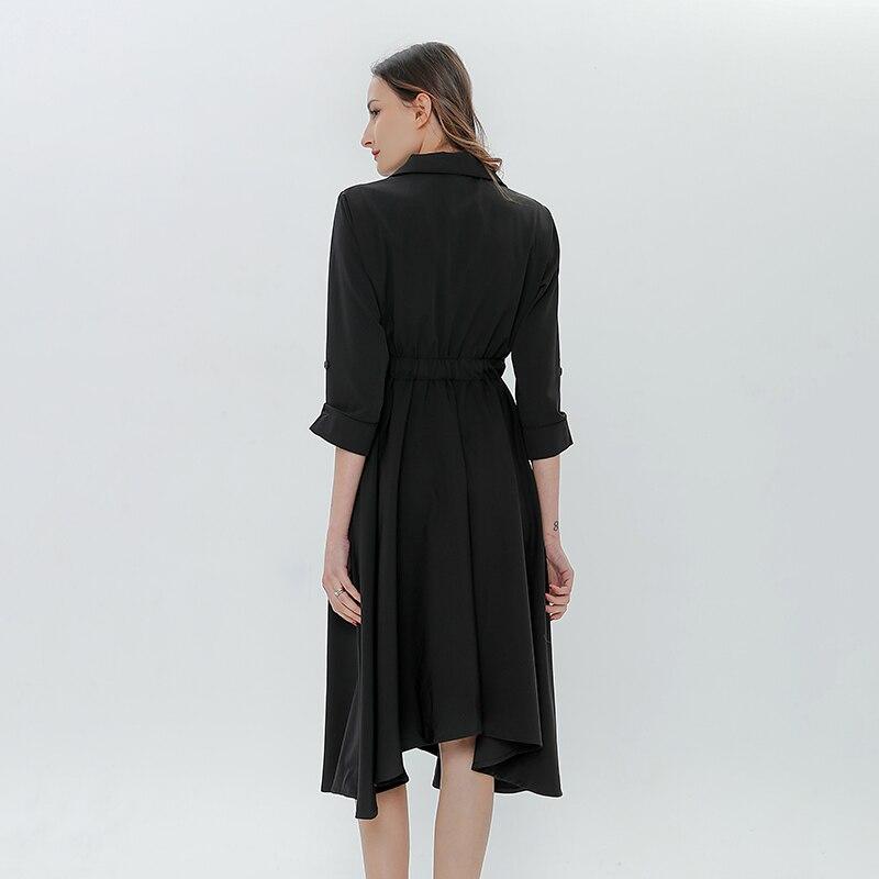 Femme 2018 Élégant Partie Manches Black Sexy Trois Robe D'été Cou Twotwinstyle Femmes Midi Taille Les gray Printemps Robes Pour Quarts Haute V 8NXknPwO0