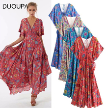 DUOUPA Boho dress rayon birds floral print V-neck buttons loose bohemian chic summer dresses beach women vestidos de veran