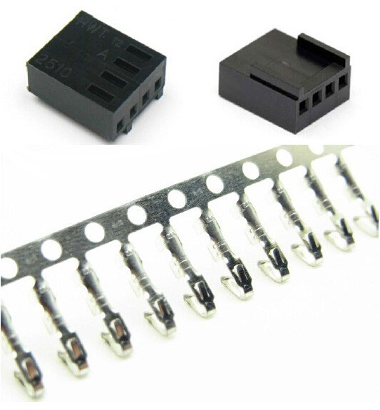 50PCS/ Lot 4 Pin PWM Fan Male Connector With 200PCS Terminal Pins - Black