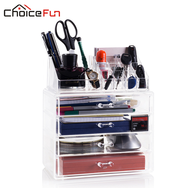 CHOICEFUN Office Extra Large 4 Drawers Jewelry Acrylic Makeup