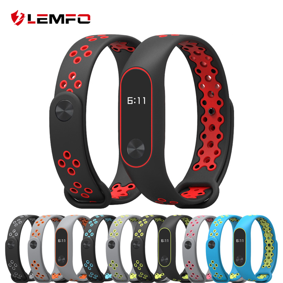 LEMFO Silicone Bracelet For Xiaomi Mi Band 2 Strap Double Color Wrist Strap Replacement Sport Smart Band For Mi Band 2 цена