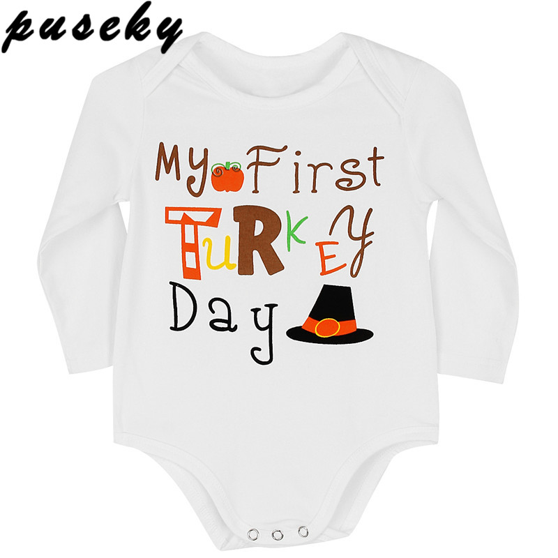 Puseky Thanksgiving Newborn Kids Baby Boy Girls Outfit Romper