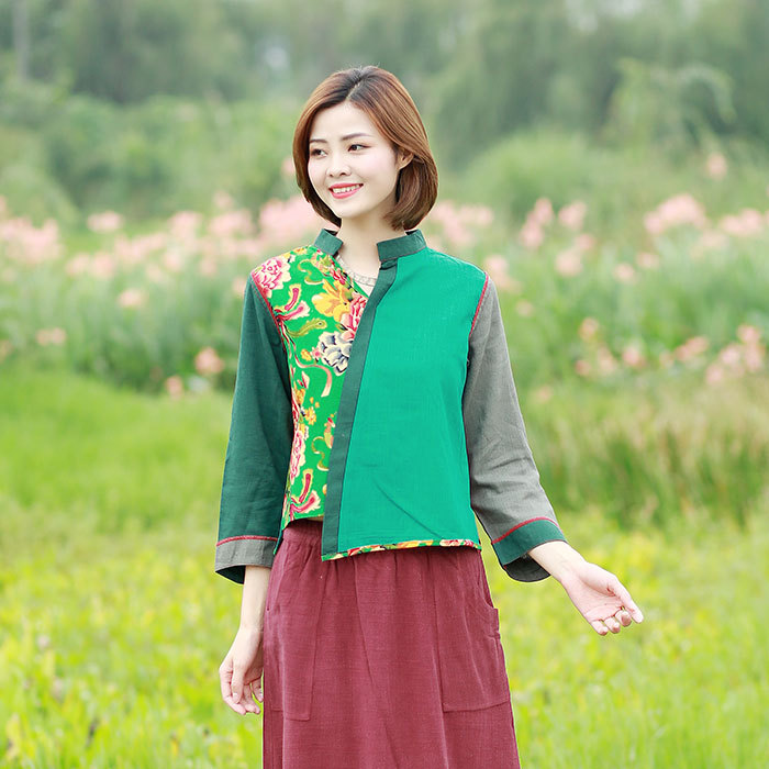 Clothing Long Sleeve Female Women's Spring Summer New National Style Women's Shirt Short Paragraph Green Red