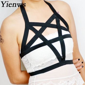 Yienws Black Cage Bra Harness Famle Ladies Rave Garter Belt for Women Jartiyer Sexy Goth Crop Top Underwear YiG001