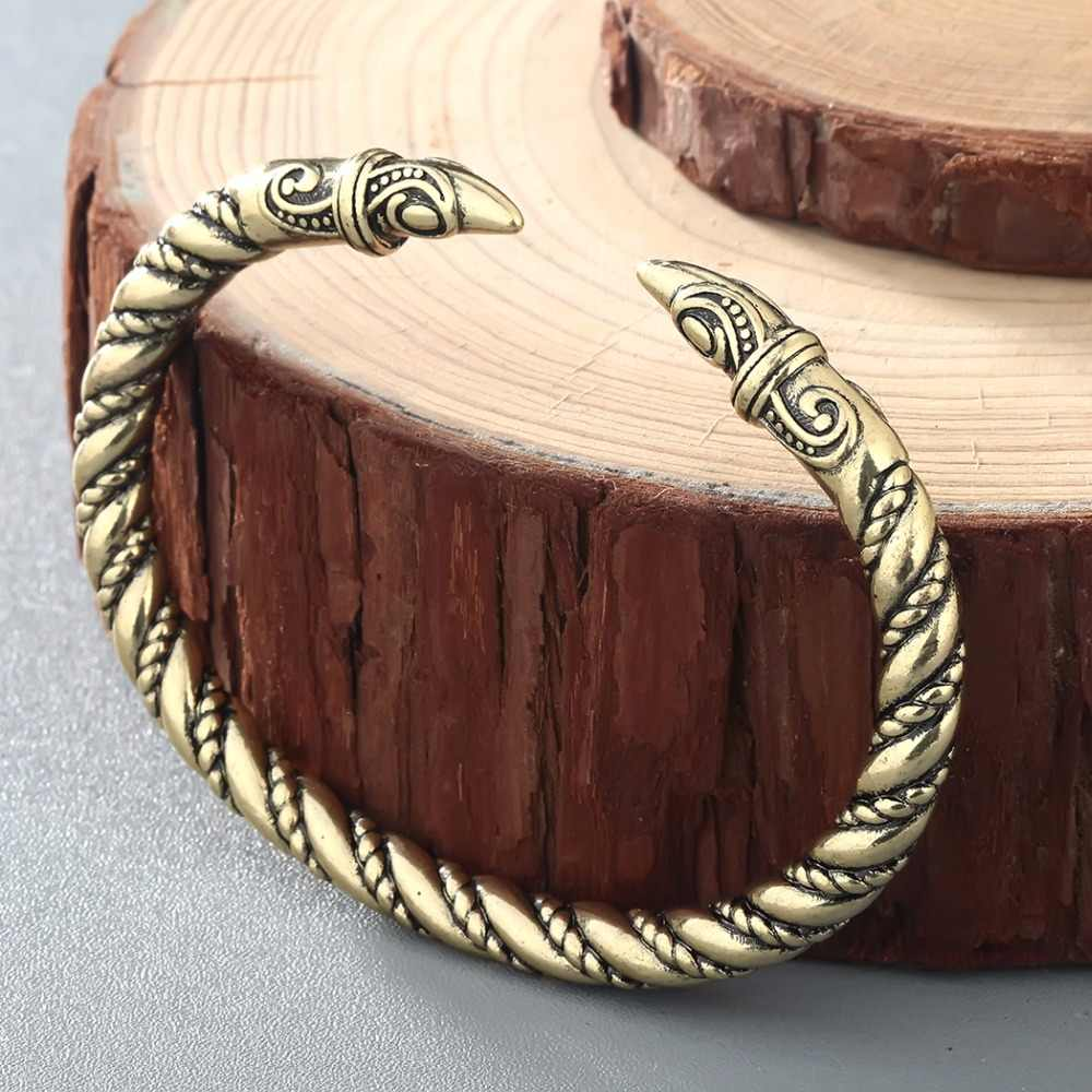 CHENGXUN Punk Men Raven Bracelet Jewelry Antique Twisted Wire Cuff Viking Bangle Indian Jewelry Fashion Accessories