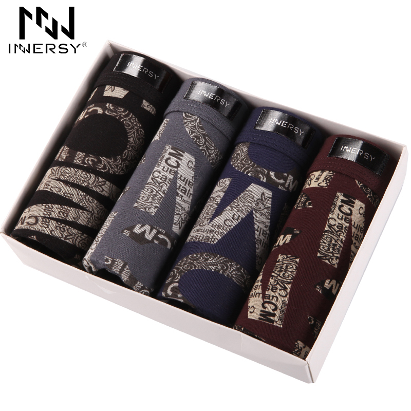 Innersy 2017 Panties Men 4Pcslot Boxer Large Size Underwear Boxers Modal Boxer Men Printed Boxer Shorts Mens Underwear Luxury