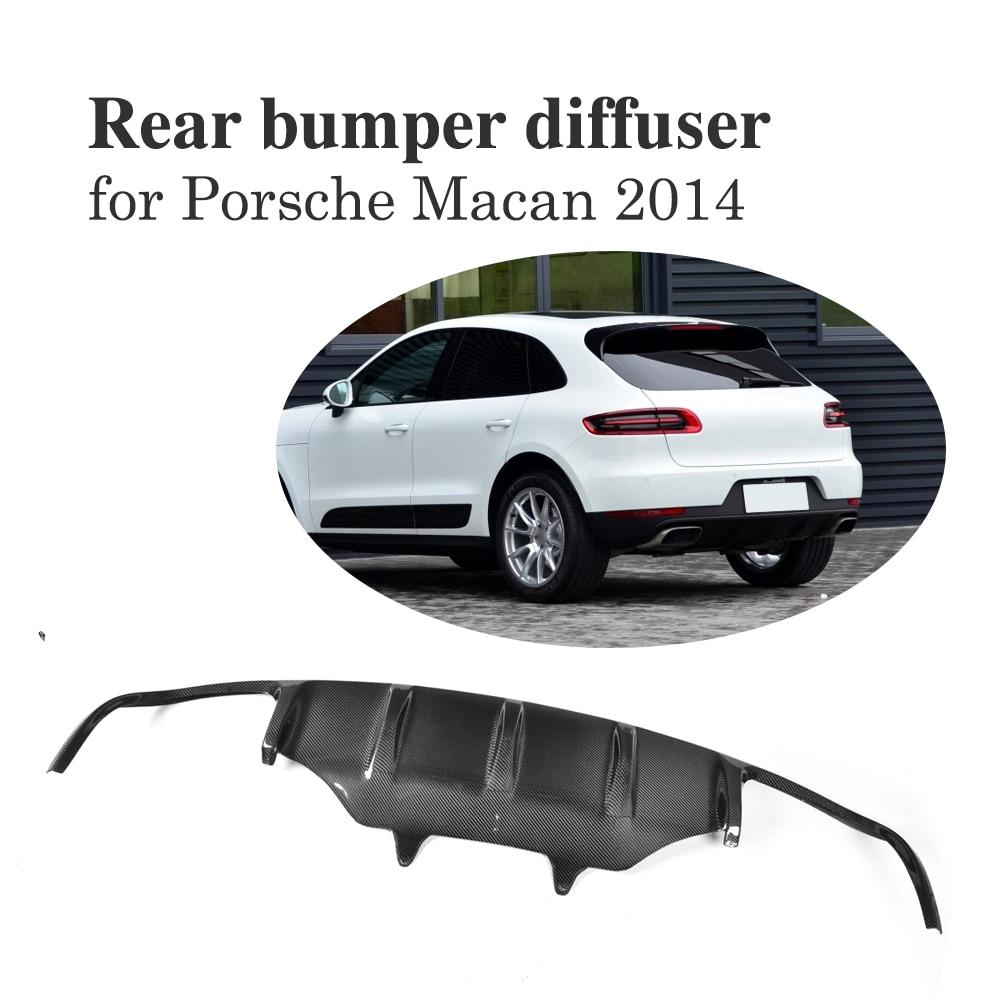 Carbon Fiber Rear Bumper Diffuser Lip Spoiler For Porsche Macan 2014