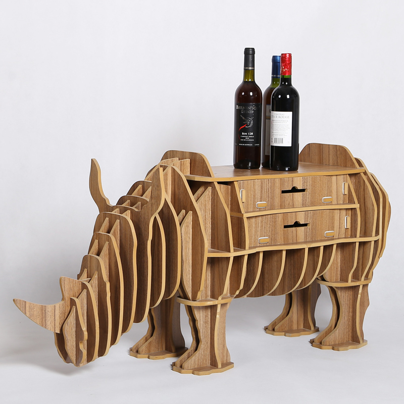 High End Creative Rhino Drawer Table Desk Wood Craft Gift Furniture