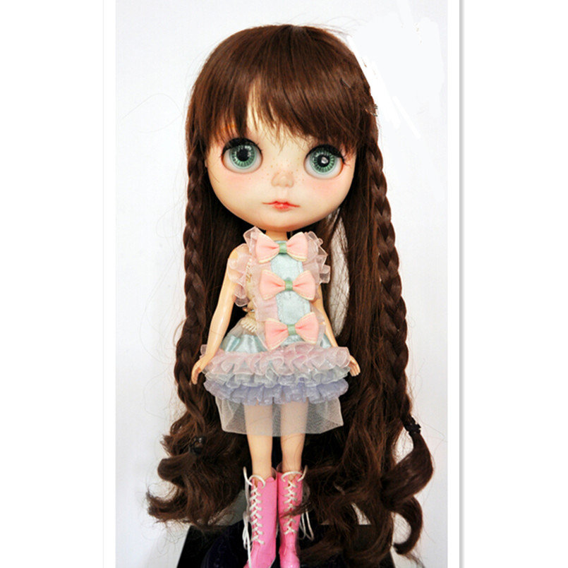 Attractive Design Long Curly Hair BJD Wig Accessories for Dolls,Hot Brown Color BJD Doll Wigs High-temperature Wire Wavy Hair