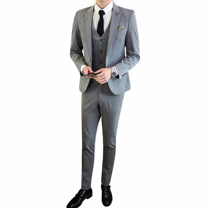 N & B (ジャケット + パンツ + ベスト) 男性の結婚式のスーツ男性ブレザースリムメンズ衣装ビジネスフォーマルパーティー古典的な黒 SR30