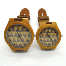 Men and women lovers watch wooden bamboo clock japanese miyota 2035 movement wristwatches genuine leather wood watches couple