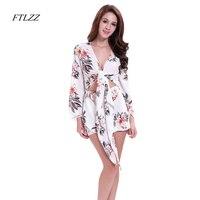 Ftlzz Sxey Beach Floral Boho Dress Summer Dress Women Strap Short Dress White Long Sleeve Shein