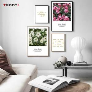 Image 1 - Северные цветы плакаты печать розовые розы холст картина на стене любовь художественная работа с цитатами картинки для гостиной украшение дома