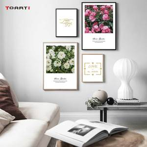 Image 1 - Nordic Flowers Posters Prints Pink Roses Canvas Painting On The Wall Love Quotes Art Pictures For Living Room Home Decoration