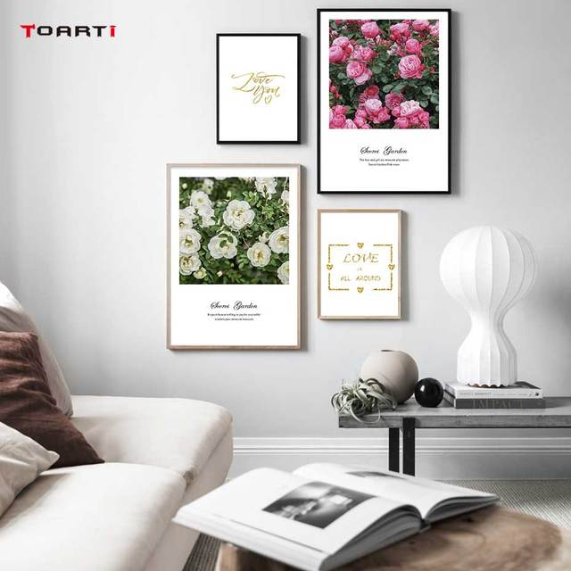 Nordic Flowers Posters Prints Pink Roses Canvas Painting On The Wall Love Quotes Art Pictures For Living Room Home Decoration