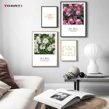 Pósteres con flores nórdicas estampadas rosas lienzo pintura en la pared frases románticas imágenes artísticas para la decoración del hogar de la sala de estar
