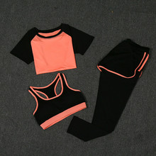 2018 new 4 piece women sportswear female running pants New Women Yoga Sport Suit Summer Bra Set 3 Piece Female Short-sleeved Pants Outdoor Quick Drying Sportswear Running Clothes