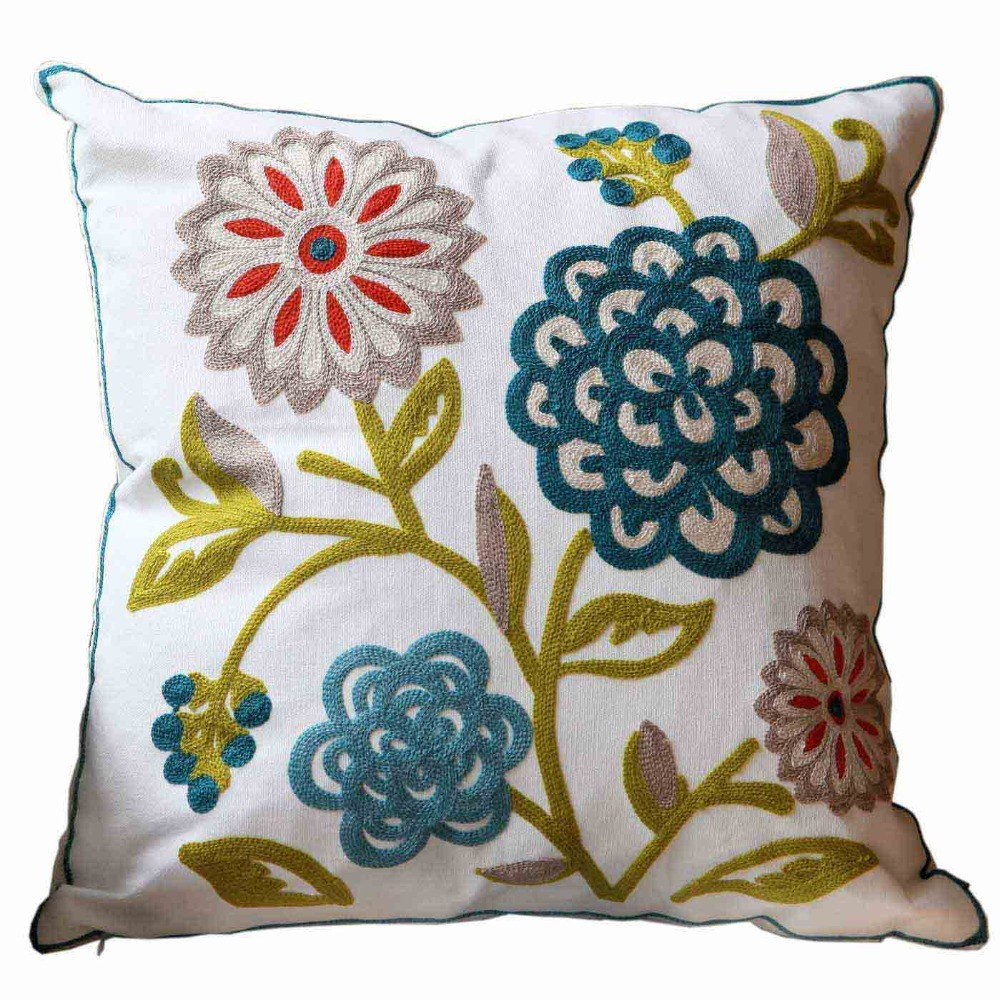 Aliexpress.com : Buy Flowers Cotton Handmade Embroid Sofa Cushion Cover Decorative Hotel Show Pillow Case Wholesale Price Discount 18*18inch from Reliable ...