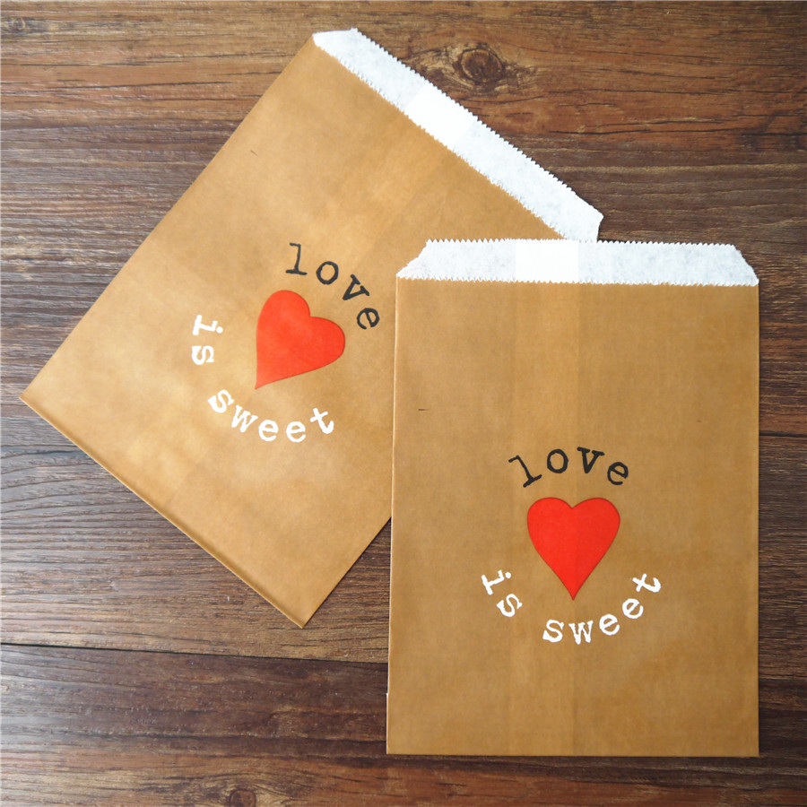 Promotion love is sweet 5x7inch 13x18cm Flower Treat Craft Paper Popcorn Bags Food Safe Party Favor Paper bags Best Gift Bag