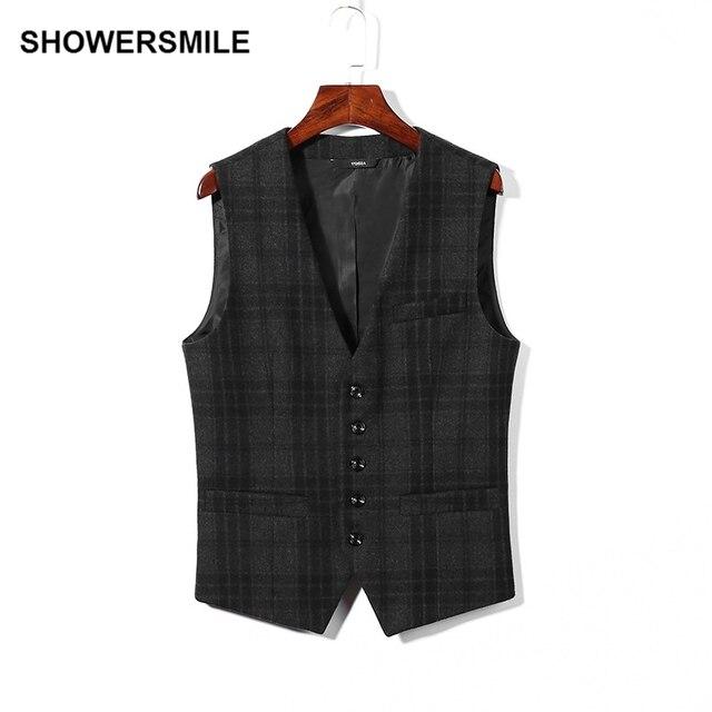 SHOWERSMILE Brand Plaid Suit Vest Mens Casual Wool Waistcoat Grey Veste Vintage Designer Clothes Male Chaleco Hombre