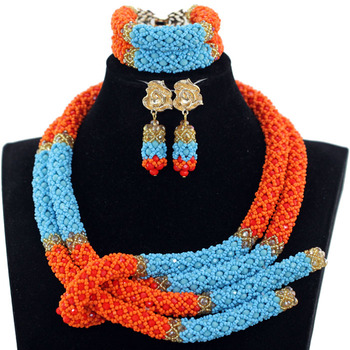 Fashion Orange and Blue African Crystal Beads Wedding Jewelry Set Handmade Weaving Indian Bridal Necklace Jewelry Set  QW1251