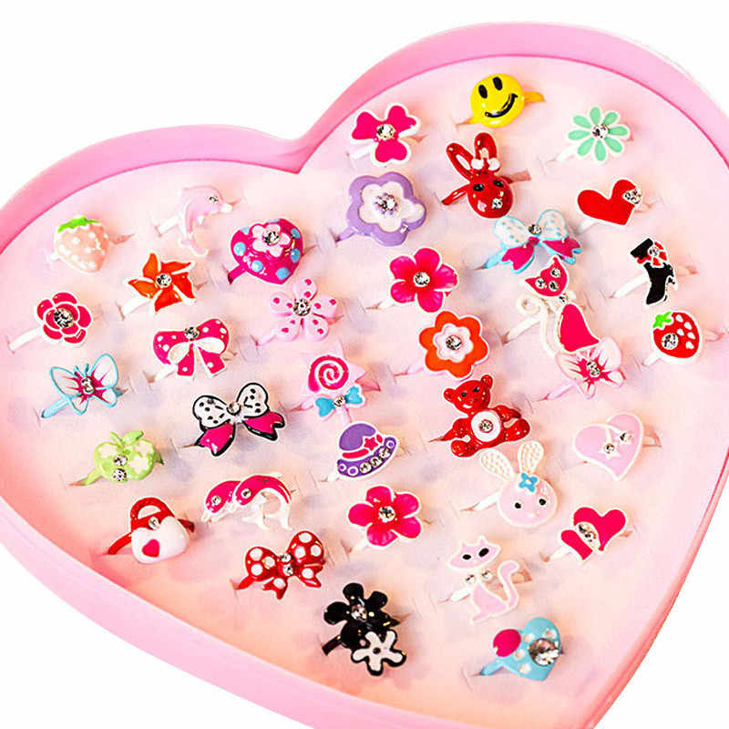 36pcs/box Love Kids Cute Sweet Rings Design Flower Animal Fashion Jewelry Accessories Girl Child Gifts Finger Rings