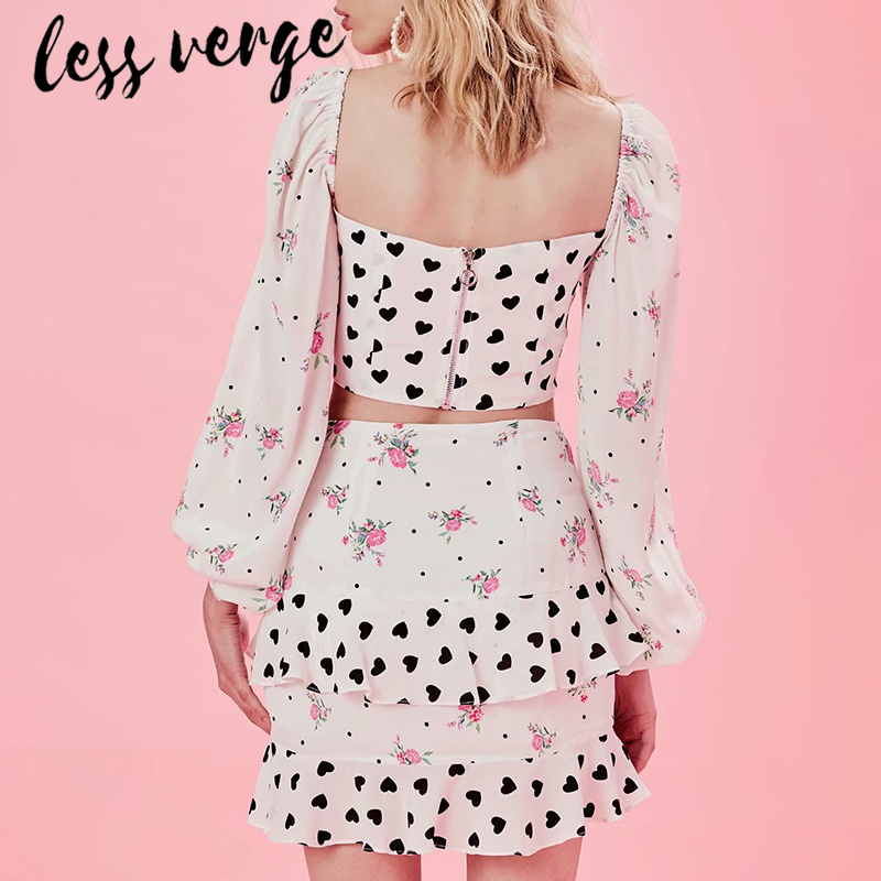 lessverge Floral heart print long sleeve two piece set Slash neck zipper white crop top camis Ruffles casual prairie mini skirt