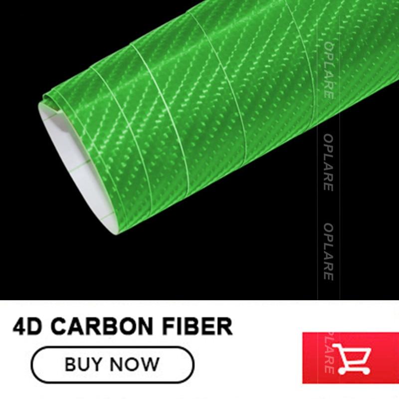 5x98FT Green 4D Carbon Fiber Vinyl Car Body Film Multi Color Sheet Roll Wrap Sticker with Air Release Automotive DIY Decals