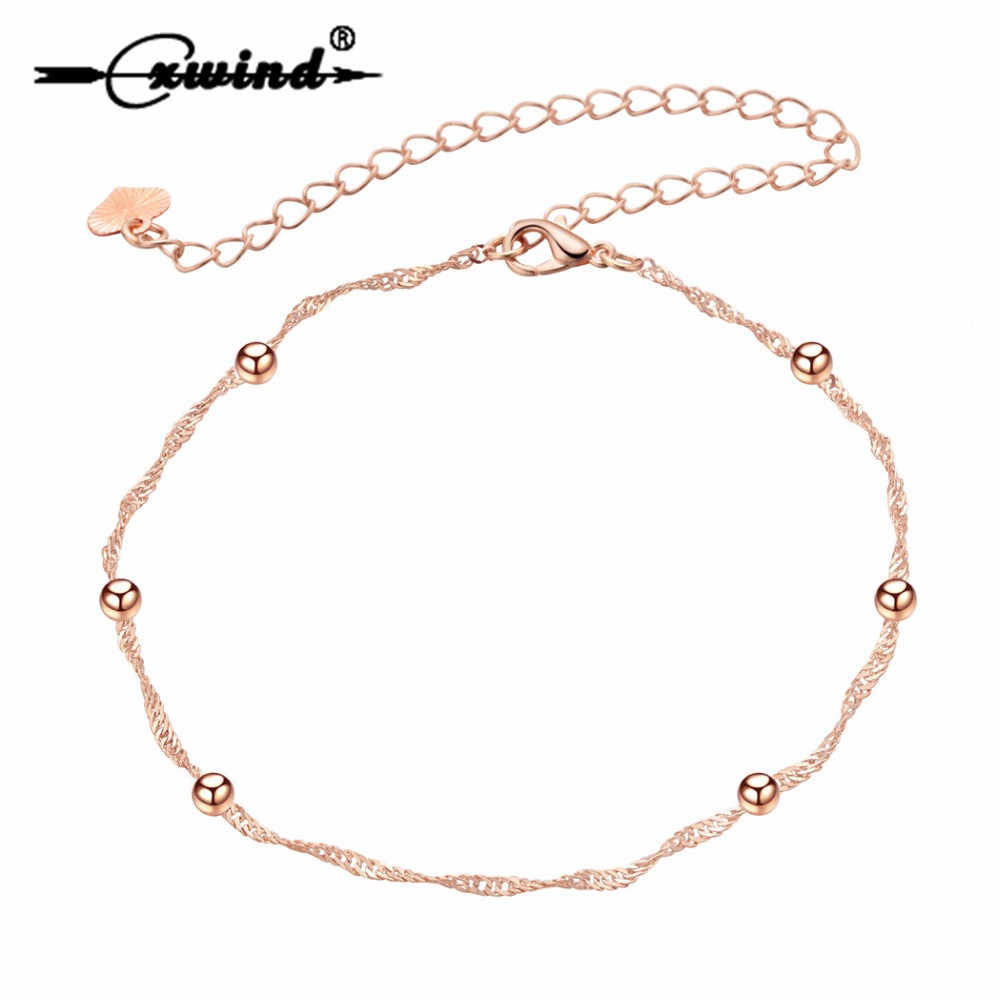 Tiny Ball Foot Feet Ankle Chain Anklet Bracelet Women Girl Charm Rose Gold Alloy Fashion Summer Jewelry Cxwind