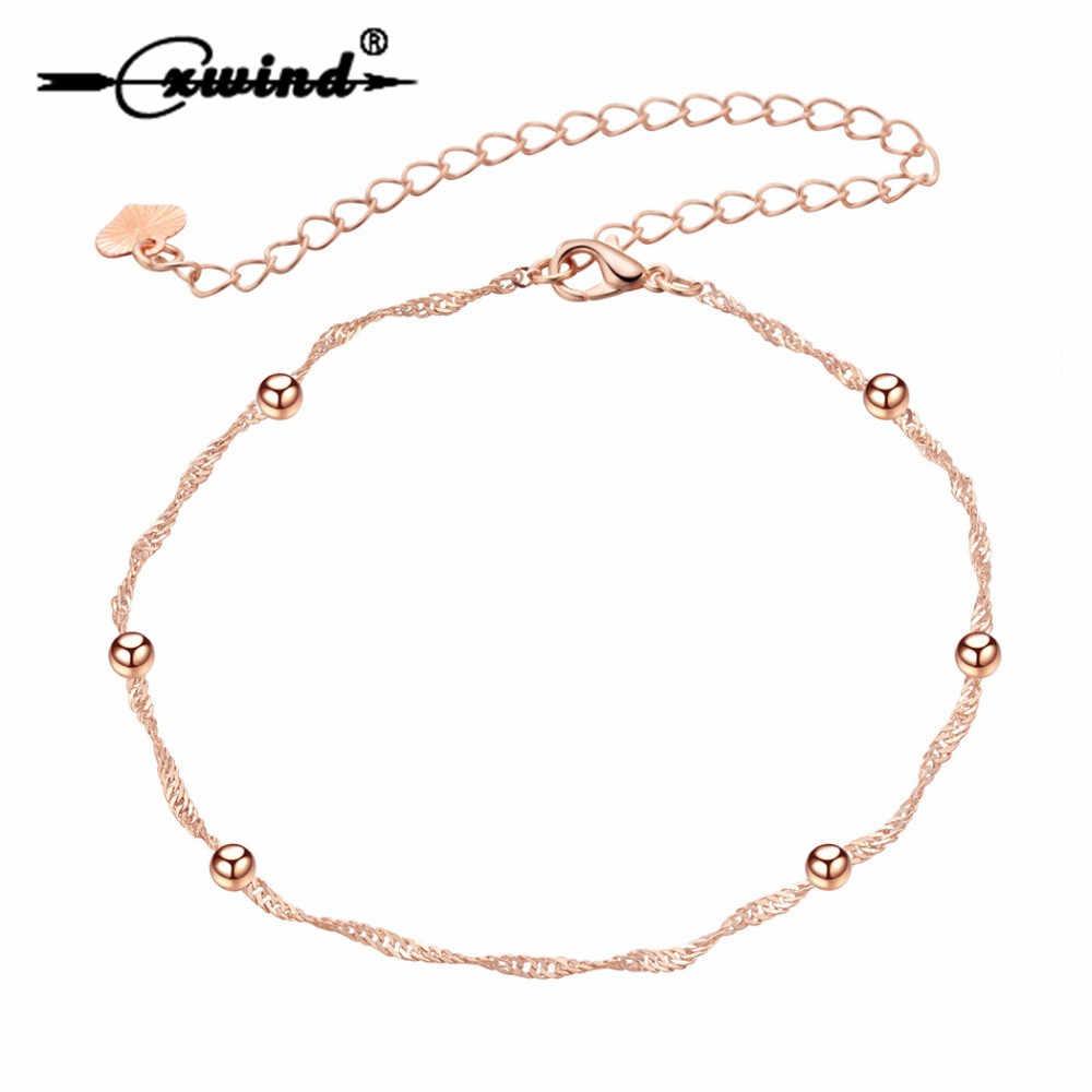 Tiny Ball stóp stóp łańcuszek na kostkę bransoletka na kostkę kobiety dziewczyna urok stopu złota róża moda biżuteria letnia Cxwind