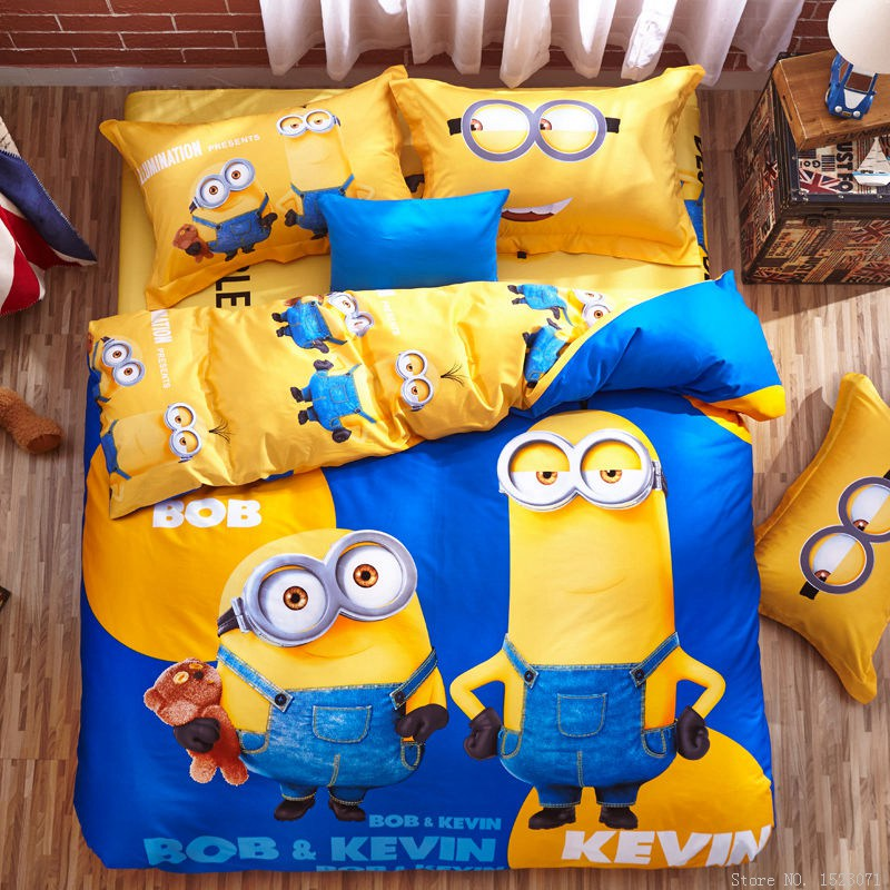 Lenzuola Matrimoniali Minions.100 Cotton Minion Bedding Sets Kids Pink Bedspreads Cartoon Bedclothes Duvet Cover Set Bed Sheets King Queen Twin Size Comforter Bedding Sets