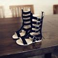 Regalar ~ Niñas Sandalias De Gladiador de Alta Longitud Niñas Pisos Niños Zapatos de la Playa de Cuero Real Botas Marrón Negro de Los Niños Del Verano