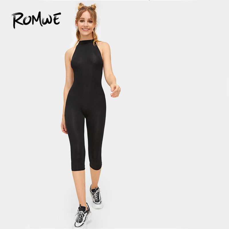 ROMWE Mock Neck Form Fitting   Jumpsuit   2019 Mid Waist Womens Sleeveless Backless   Jumpsuit   Summer Stand Collar Skinny   Jumpsuit