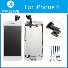 For iPhone 6 LCD Display Touch Screen Digitizer Assembly Replacement (Front Camera Frame Home Button Speaker Full LCD)+Tools