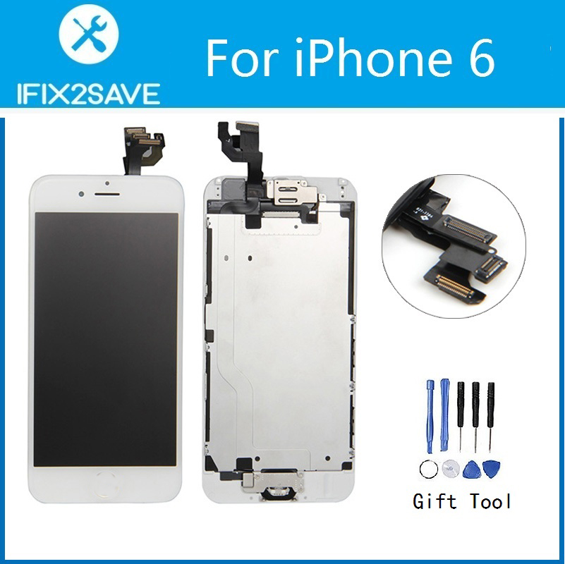 For iPhone 6 LCD Display Touch Screen Digitizer Assembly Replacement Front Camera Frame Home Button Speaker