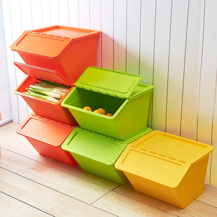 Empilable design biseauté couverture jouet boîte de rangement en plastique boîte de rangement épaissi boîte de rangement cuisine chambre vêtements boîte de rangement